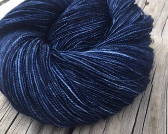 hand dyed Fathoms Deep Navy Blue Shawl Length Super Skein Superwash Merino Cashmere Nylon MCN 600 yards fingering Dark Blue Ocean Sea swm