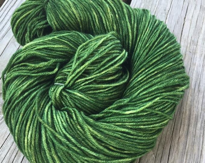 Hand Dyed DK Yarn Everglades Excursion green hand painted yarn 274 yards handdyed dk sport superwash merino wool swm spring green grass