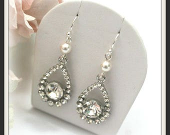 Rhinestone and Swarovski pearl earrings, Vintage style diamante earrings, Rhinestone bridal accessories