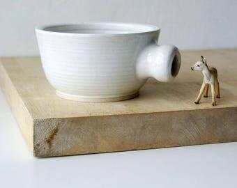 Stoneware shaving bowl glazed in brilliant white - hand thrown british pottery