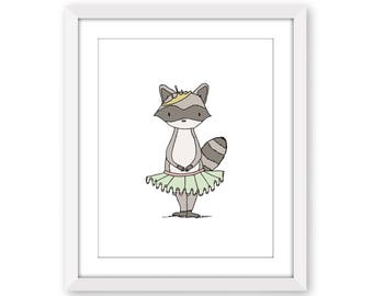 Girl Nursery Art -- Princess Mischief -- Raccoon Princess Art -- Woodland Art -- Girls Room Art -- Children Art -- Kids Wall Art