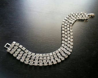 Vintage Rhinestone Art Deco Bracelet, Multi Strand Clear Crystal Bracelet, Bridal Bracelet, Wedding Bracelet, Bridal Jewelry, True Vintage