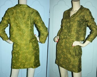 60's Costume Condition Olive Brocade Skirt Suit XS S
