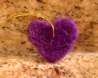 Handmade Needle-felted Miniature Heart Ornaments