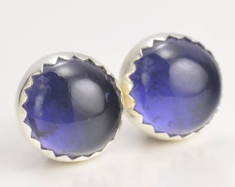 iolite 8mm sterling silver stud earrings