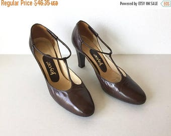 SALE EVENT 50's Brown Leather Heels - Chocolate Brown Leather T-Strap High Heel Shoes Size 6 - Joyce All Brown Leather Slip On 60's d'Orsay