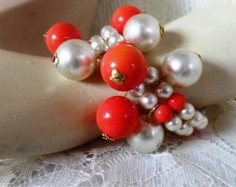 Vintage Faux Coral and Pearls Bracelet
