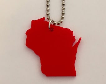 Wisconsin Necklace, Red Acrylic Plastic, State Shape Necklace, Wisconsin Pendant, State Jewelry