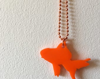 Goldfish Necklace on Copper Chain in Orange, Fish Necklace, Animal Shape Jewelry