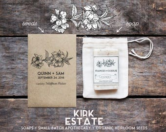 50 Seed Packet Favors, organic + heirloom seeds, from our farm, custom labels, handmade envelopes, eco friendly favors