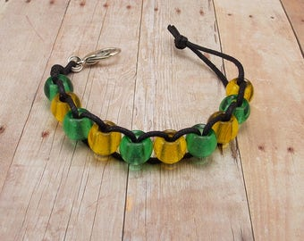 Golf Score or Stroke Counter - Clip - Black Cord with Green and Yellow Beads - Non-Elastic - 10 Beads - Knitting Rows