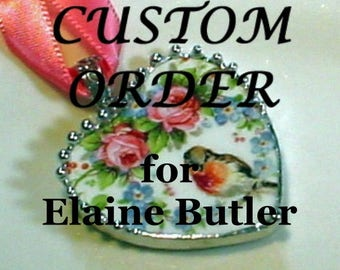 Custom Order for Elaine Butler Broken China Jewelry, Handcrafted Robin And Roses Heart Pendant Necklace