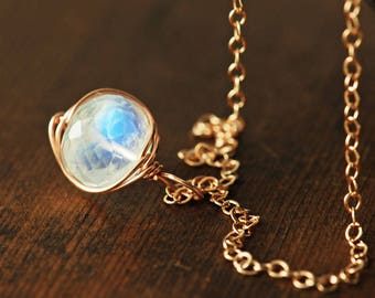 Moonstone Rose Gold Gemstone Necklace, Wrapped Rainbow Moonstone Necklace, Handmade Jewelry