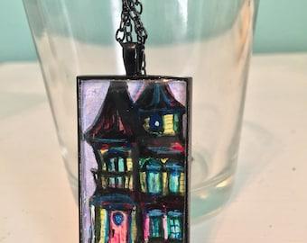 Victorian Dollhouse - Black Vintage Style Pendant Necklace