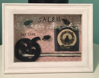 Shadow Box Art - Vintage Style 3D Art - Salem Witch Diorama - Christy Meaux Art Work