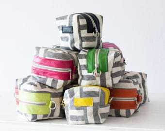 Striped canvas makeup case, cosmetic bag vanity storage bridemaids gift baby accessory bag beauty makeup case - Cube
