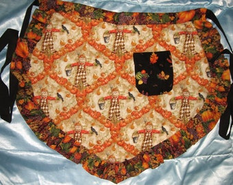 JKW Country Scarecrows & Pumpkins Handmade Half APRON with Pocket