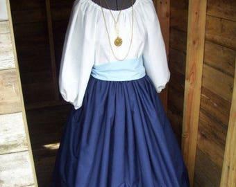 Reenactment Pioneer Trek Colonial Civil War Day Dress Colonial Prairie Pioneer Victorian Skirt Blouse and Sash