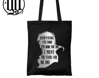 Jareth Goblin King Tote Bag - Silver on Black - Labyrinth