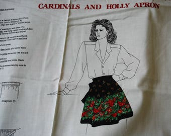 vintage cardinals and holly apron kit - Cranston VIP - holiday apron - christmas sewing project