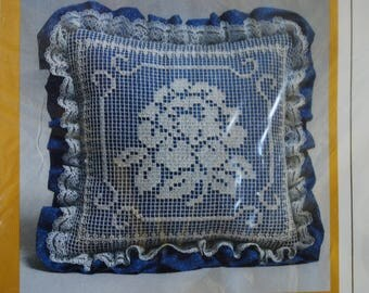Pillow Kit - The Creative Circle Embroidery Kit - Crafting Supply - Calico and Lace - Cottage Chic - Farmhouse
