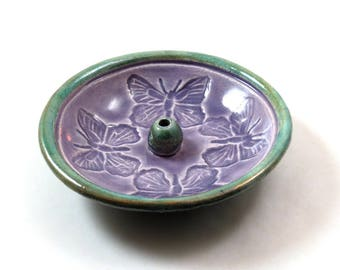 Incense BurnerButterfly Raku Handmade Pottery