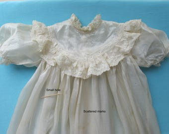 Antique Christening Gown Baby Infants Dress Long Full Length Cream Silk Lace Ruffles and Tucks Victorian c.1890-1900