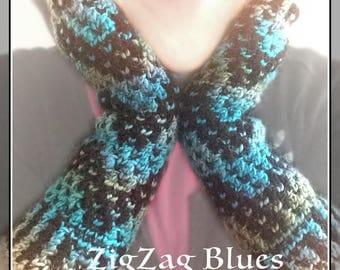 Fingerless Winter Gloves - ZigZag Blues -  Mosaic Crochet, Retro, fashion gloves