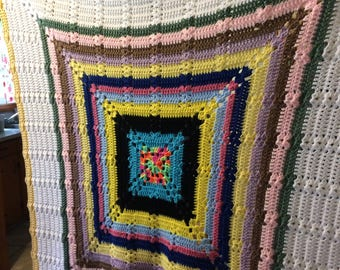 Vintage 1970s Multi Color Vibrant Rainbow Picnic Festival Hand Crochet Afghan Blanket 53 x 53 Inches