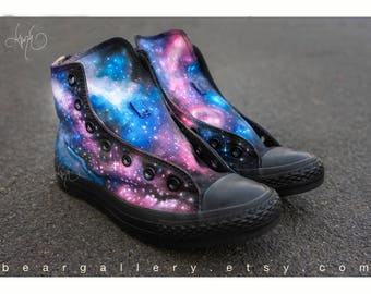Custom Converse High Tops - Hand Painted Galaxy Shoes