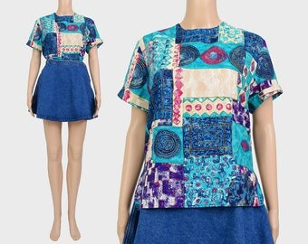 Vintage 90s Abstract AZTEC Top | Artsy Mosaic Print Shirt | Short Sleeve Boho Blouse | Rayon Boxy Top | Aqua Purple