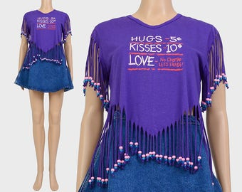 Vintage 80s Purple T-shirt | Fringe Shirt | Beaded T-shirt HUGS and KISSES Love Graphic Tee Shirt | Crop Top | Cropped T-shirt | size S M