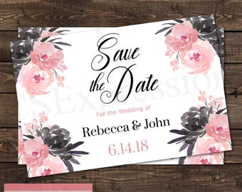 Black and Pink Watercolor Floral Flowers Save the Date Card