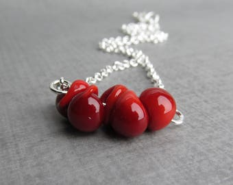 Blood Red Necklace, Minimalist Necklace Red, Red Bead Bar Necklace, Red Lampwork Necklace, Red Glass Drop Necklace, Sterling Silver Necklace