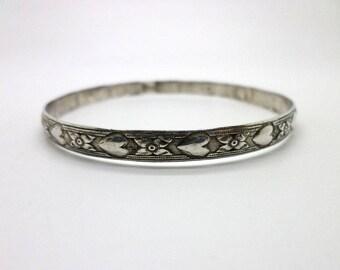 Bangle Bracelet Vintage Sterling Silver Older Piece Small Size