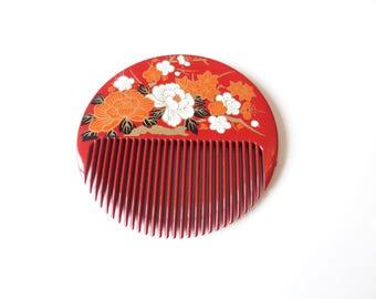 Red Kanzashi Round Kushi Ornamental Comb Hai Ornament Japanese Design
