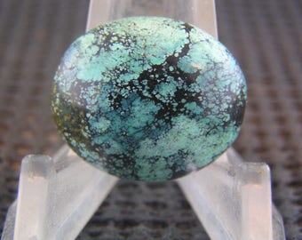 PRICE REDUCTION Chinese Spiderweb Turquoise Freeform Designer Cabochon NICE