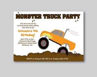 Boys Monster Truck Birthday Invitation Any Age Birthday Invite JPG or PDF Print your Own