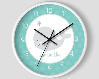 """Teal and Gray Little Whale Nautical 10"""" Nursery Wall Clock / Girl or Boy Whale Nursery Clock / White Wooden Frame"""