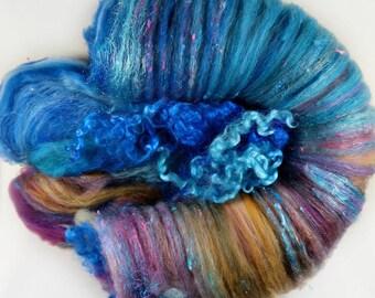 Jewel Wild Card Bling Batt for spinning and felting (4.4 ounces), batt, art batt