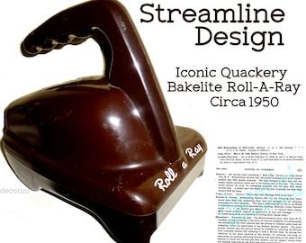 Vintage Bakelite Streamline Machine Age Medical Quackery Device. Roll-A-Ray. Industrial Bakelite. 1950s.