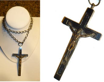 Crucifix. Heavenly Vintage Four Inch Cross on a 25 Inch Chain. Ebony and Chrome Metal. Masculine Pectoral Crucifix.