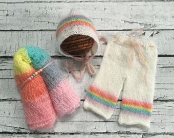 Limited time Sale! Rainbow Baby Photo Prop You choose either Wrap, Headband, bonnet, pants or complete set. Ready to ship. Rainbow baby gift