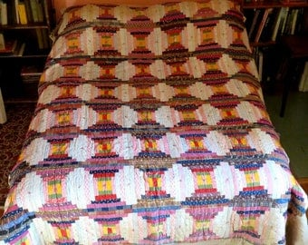 """ANTIQUE LOG CABIN quilt,84""""x66"""" pieced,classic handmade,vg condition,ivory,burgundy,navy,marigold,slate,red,brown,flowers,stripes,polka dots"""