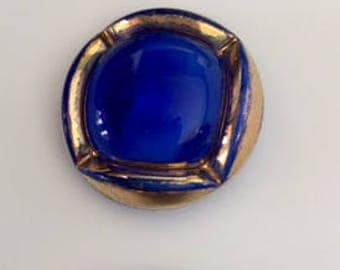 3 Vintage German Glass Buttons - Gold Metallic on Blue Glass