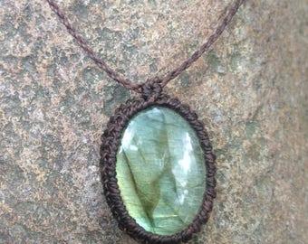 labradorite cabochon wrapped macrame string necklace