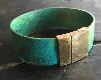 Rio Street Art Leather Bracelet with Molten Gold Magnetic Clasp - Galactic Graffiti Love