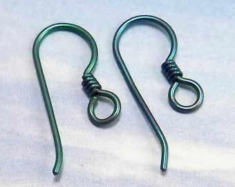 Green Colored Niobium Ear Wires with Coil - Jewelry Making Supplies - Hypoallergenic lot 86