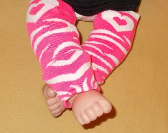 Leg warmer, Infant, Newborn-Valentine stripe with pink Hearts-infant leg warmer, newborn leg warmer, baby girl leg warmer, baby leg warmer