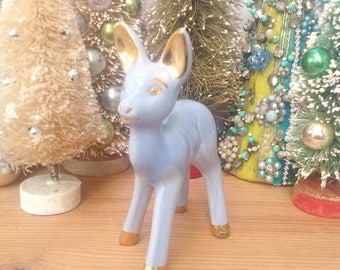 "SALE Vintage blue purple ceramic deer with gold ears and hoofs. Approx. 6"" tall. Vintage deer. Home decor. Mantel decoration."